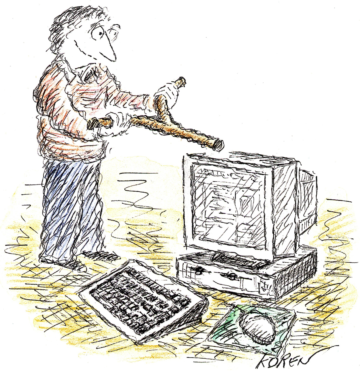 Illustration of a man using a defining rod on a computer