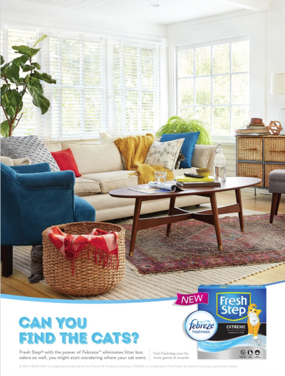 Cat hiding in a living room ad for Fresh Step Clorox.