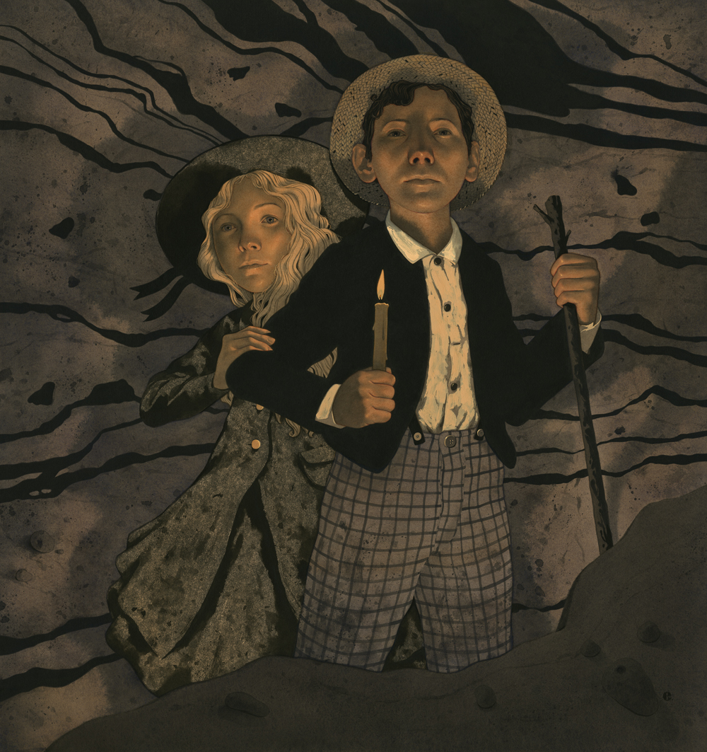 Illustration of boy and girl walking in the dark