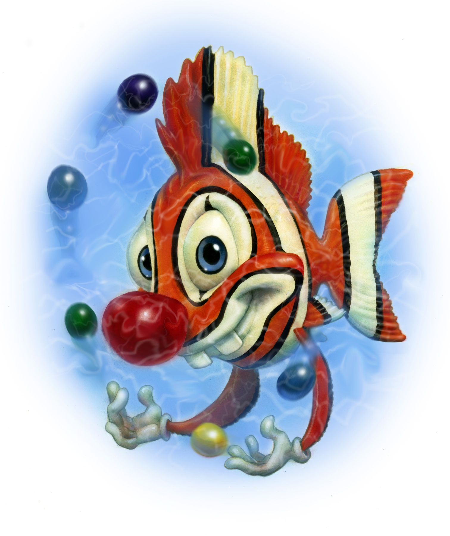 Humorous illustration of a clownfish.