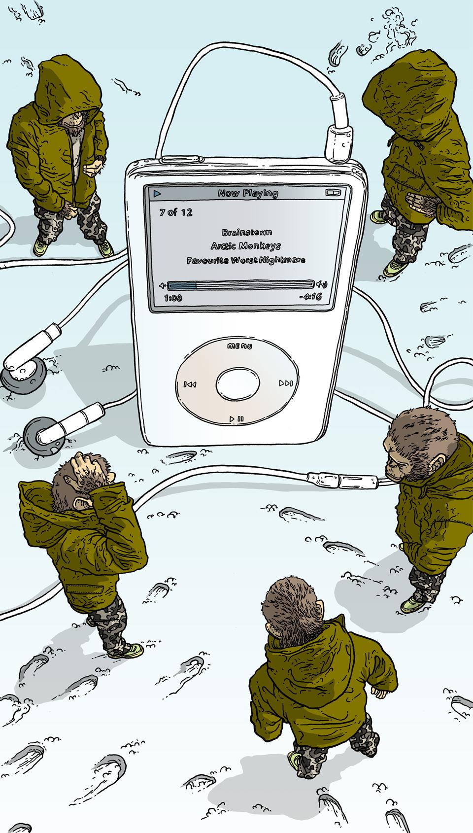 Conceptual illustration of arctic monkeys around an Ipod.