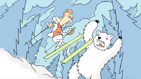 Illustration of a polar bear growling at skiier.