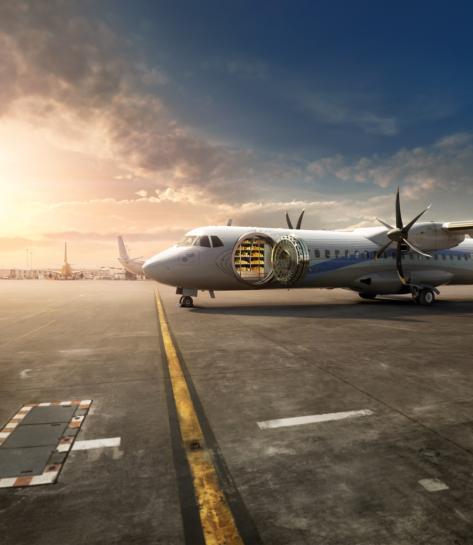 CGI'd photo of airplane