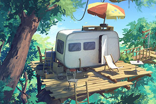 Sylvain Sarrailh illustration of mobile home.