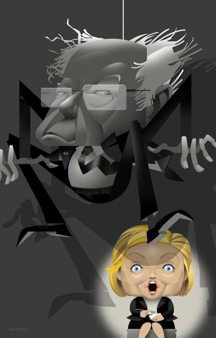 Hillary Clinton as Little Miss Muffett Bernie Sanders as the Spider