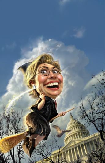 Hillary Clinton on a broom stick