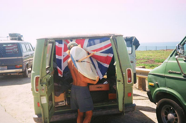 surfer with British flag