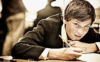 Photo of teens in school.