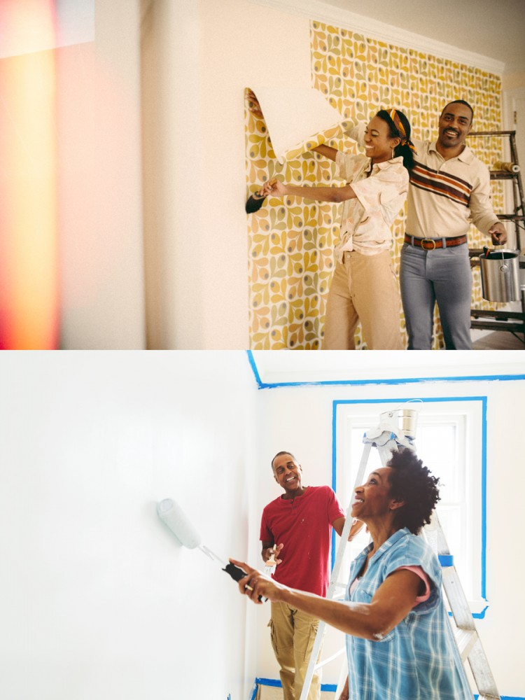 AFRICAN AMERICANCOUPLE PAINTING A ROOM