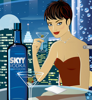 Illustration of woman sipping martini.