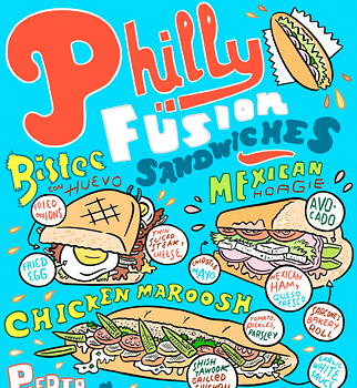 Illustration of Philly Fusion sandwiches.