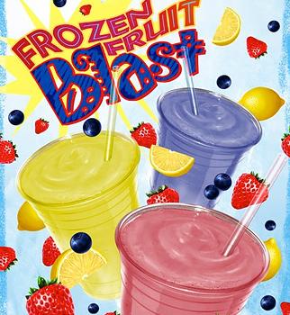 Frozen fruit blast illustration.