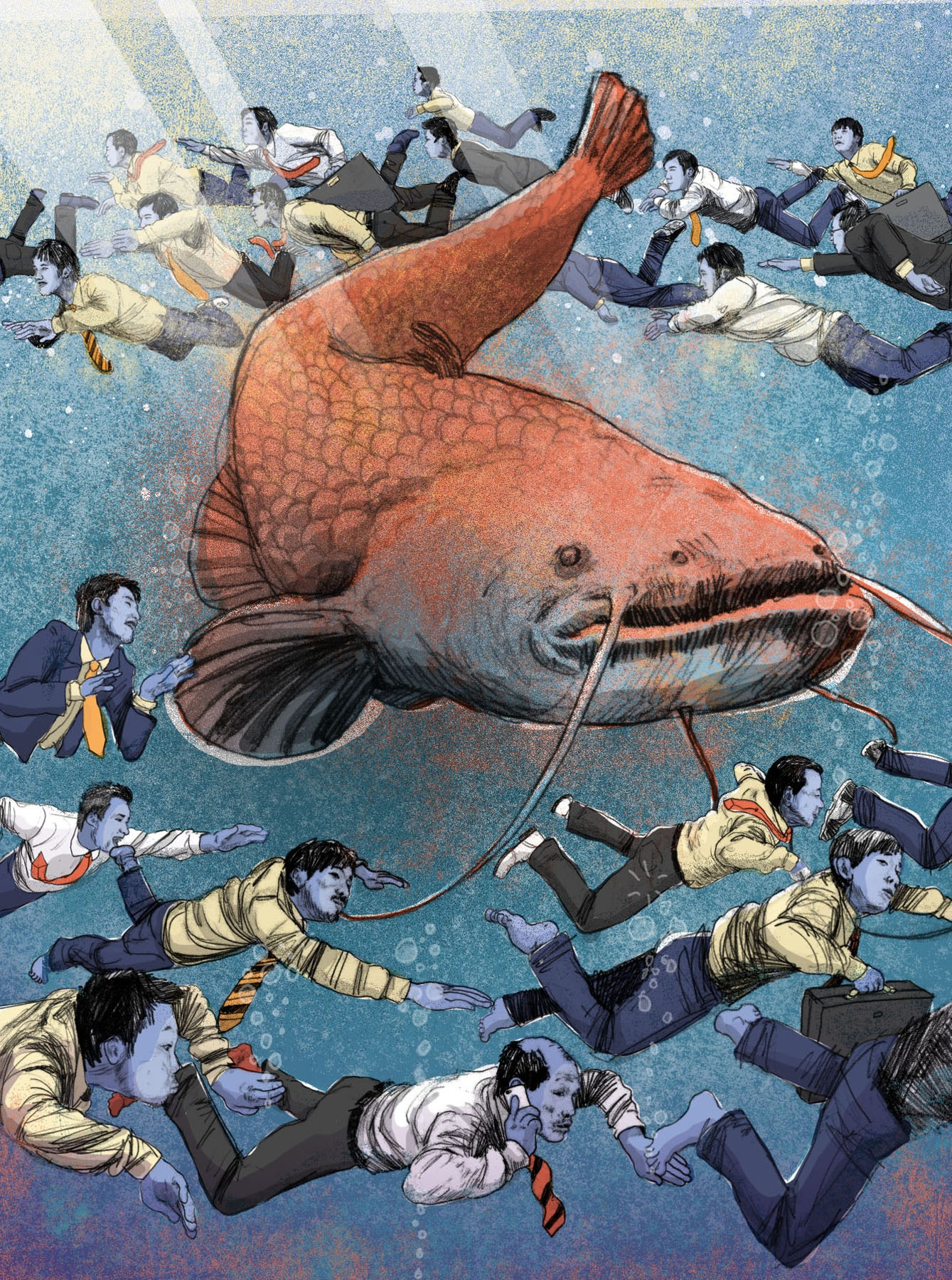 Conceptual illustration of giant catfish swimming with businessmen.