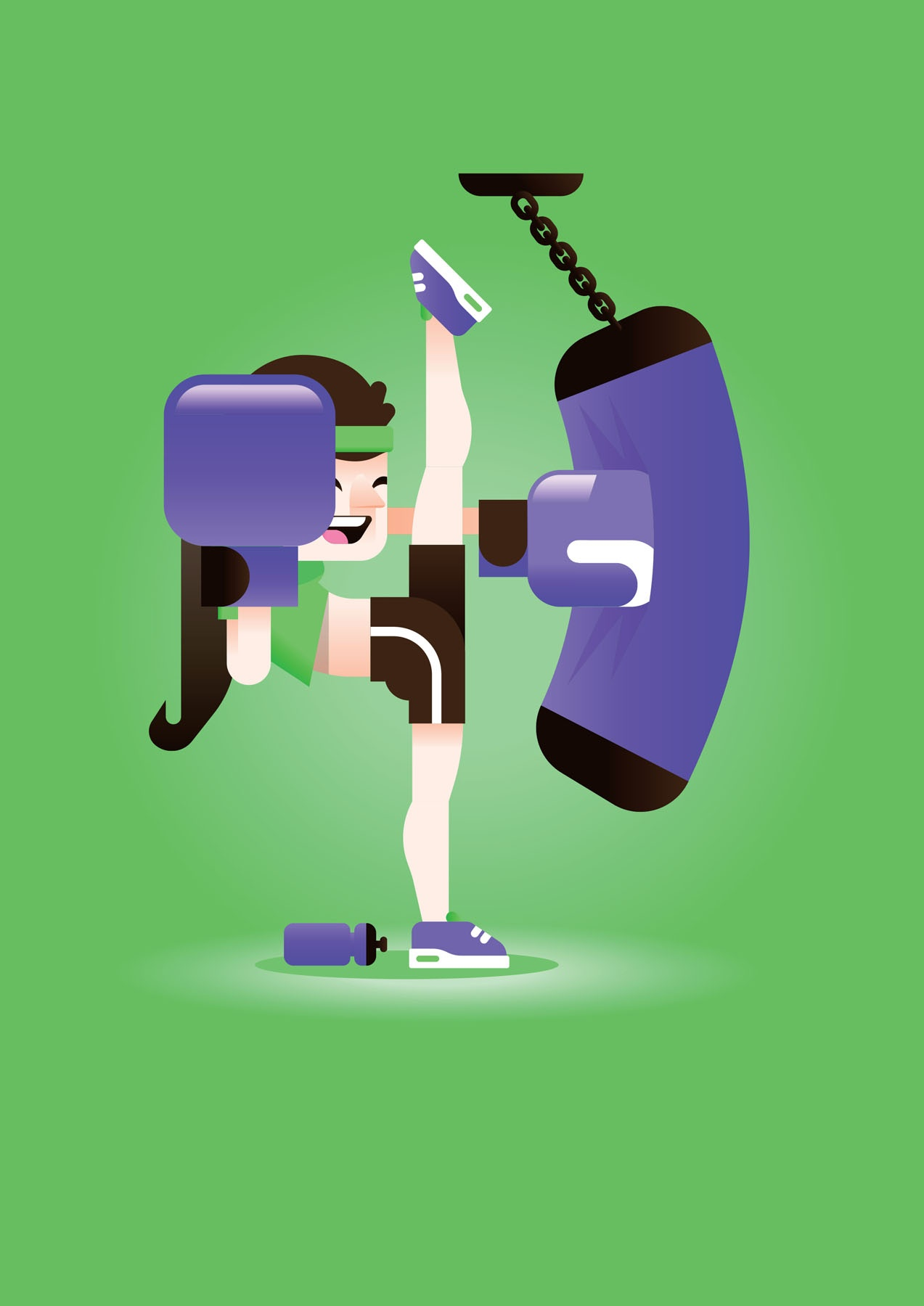 Illustration of woman kickboxing.