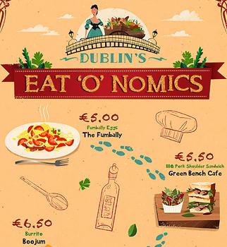 Map illustration of Dublin eateries.