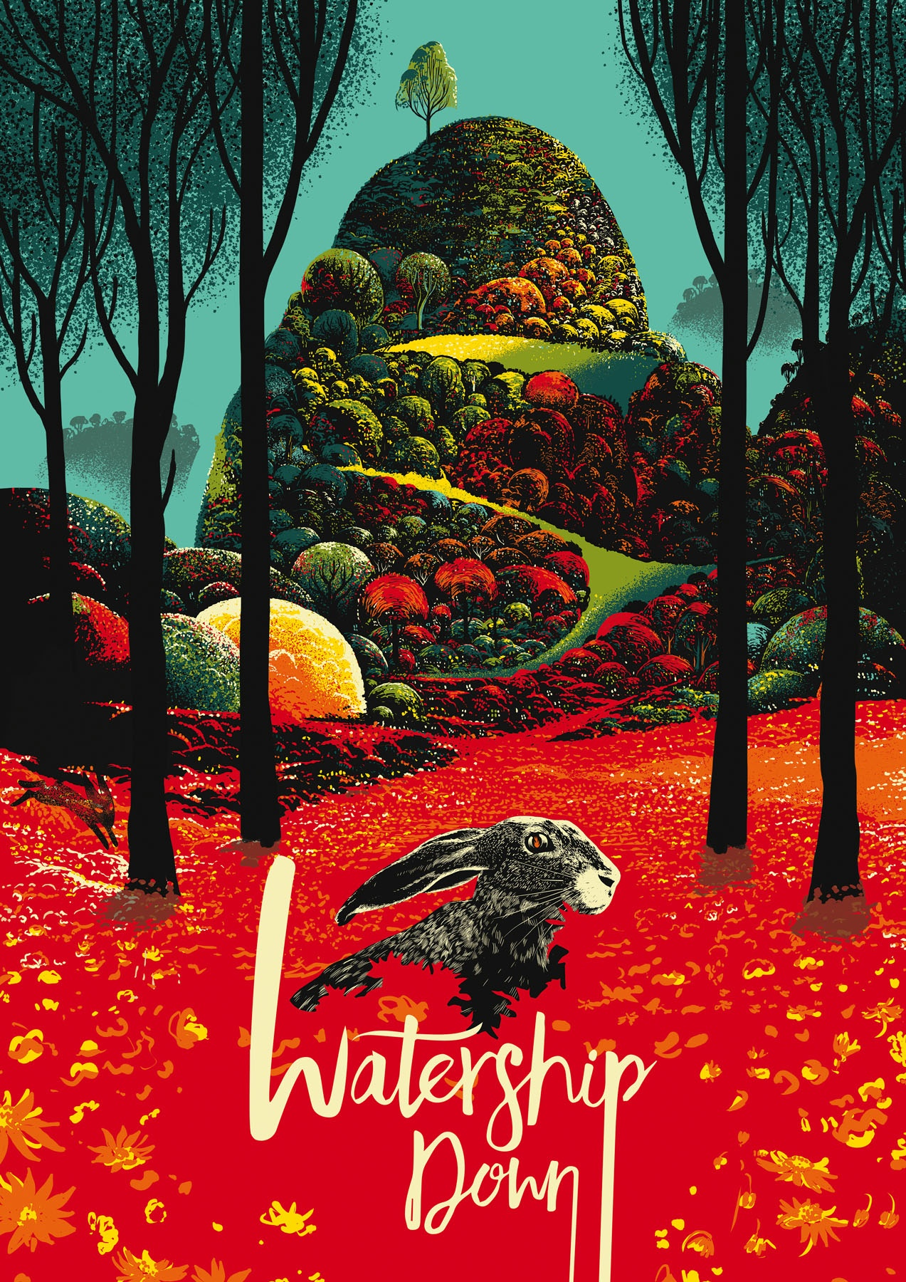 Illustration of Watership Down cover.