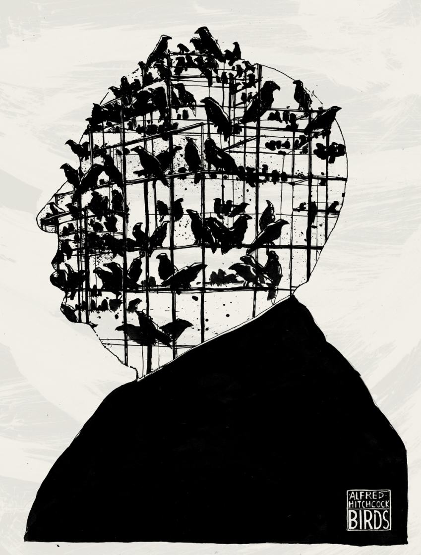 Conceptual illustration of Alfred Hitchcock.