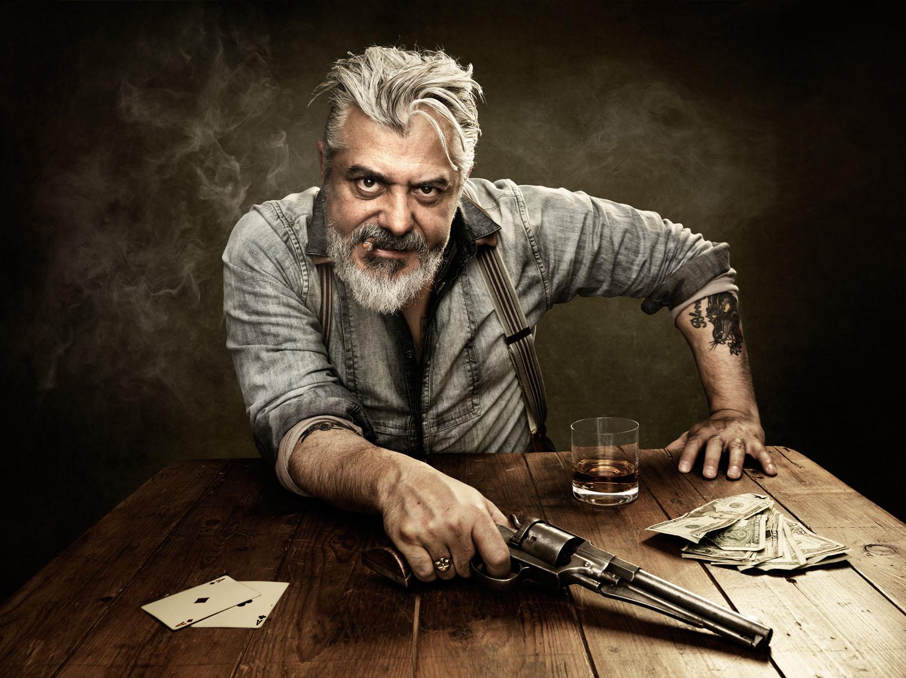 Conceptual photo of gun slinger.