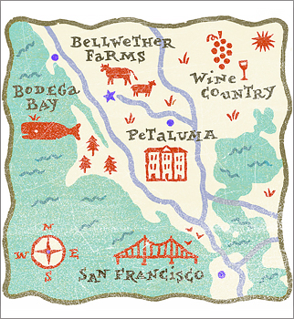 Illustrated map of Bellwether Farms.