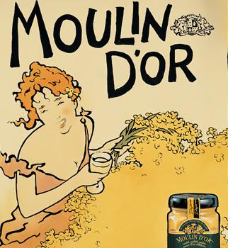 Retro styled illustration for Moulin D'or Dijon Mustard.