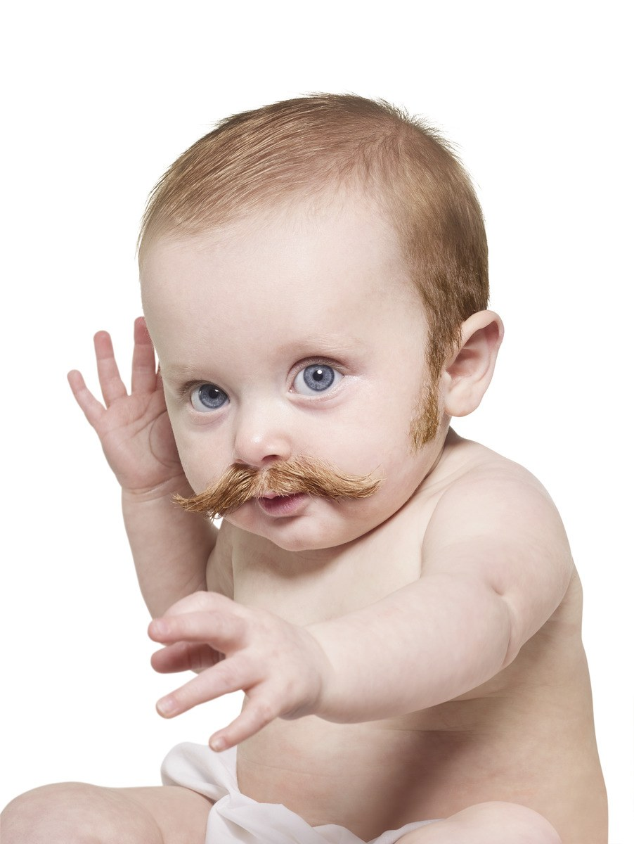 Baby with a Mustache and Sideburns
