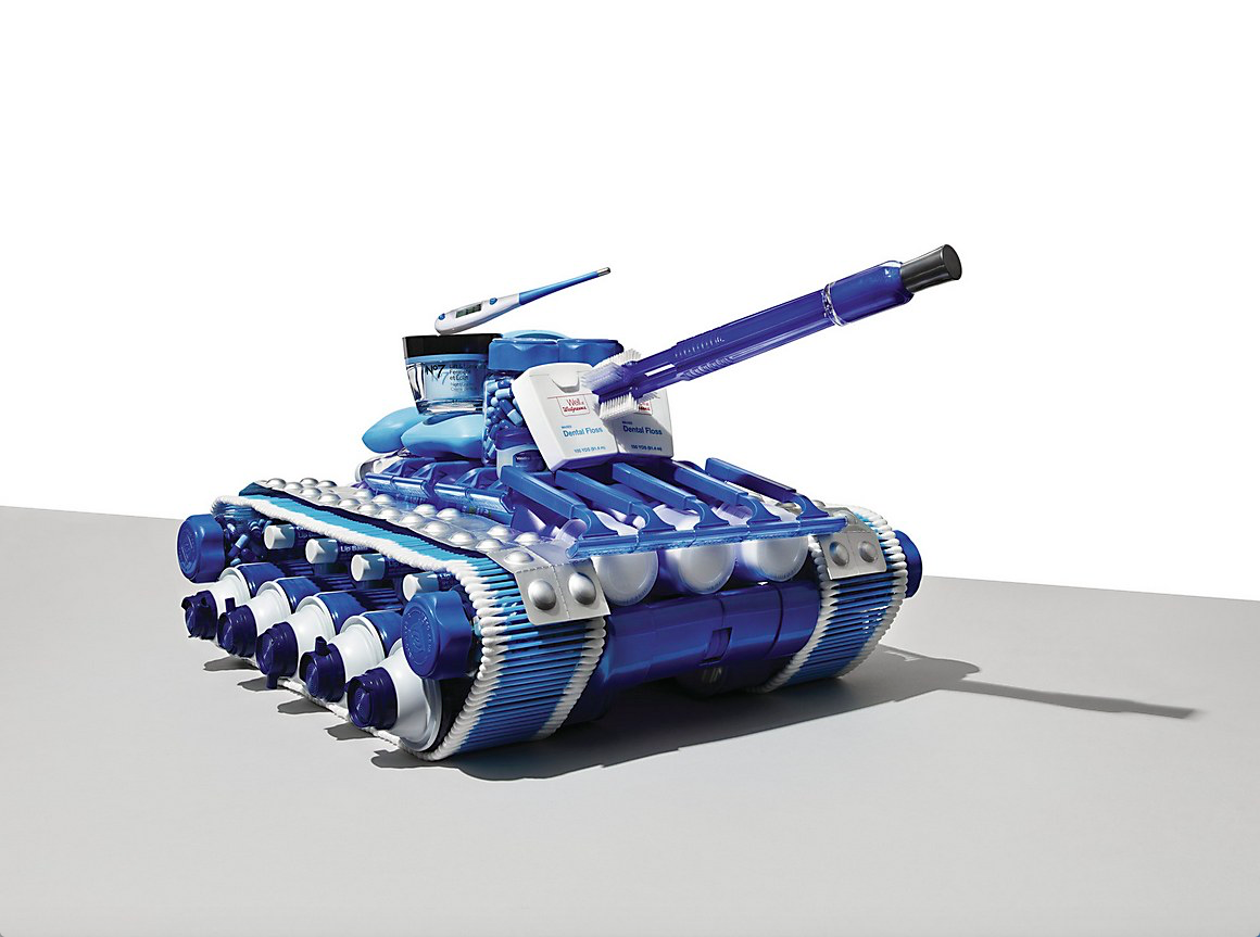 Tank made of oral hygiene products