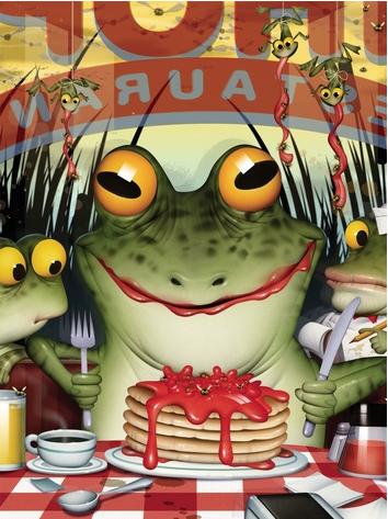 Frog eating pancakes