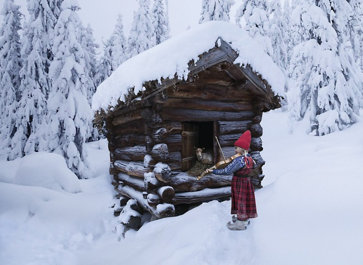 Girl with violin reindeer in cabin