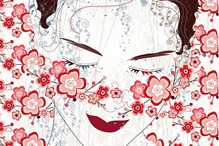Decorative illustration of woman's face.